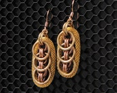 Gold Coast earrings, gold mesh, brass and copper rings