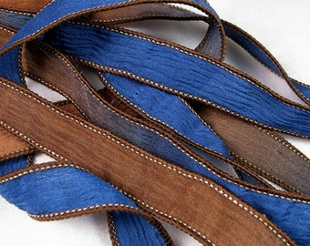 Hand Dyed Silk Ribbons - Crinkle Hand Painted Silk Jewelry Bracelet - Fairy Ribbons  - Quintessence - Navy Brown - Dockside