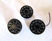 Vintage Glass Buttons Small Black Carved Daisy Set, 1/2 Inch, 12mm, 3 Buttons, OLD
