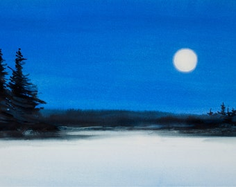 Moose Pond Moonrise, Watercolor Print, Full Moon, Night Sky, Winter, Snow, Blue, White, Silhouette