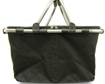 Insulated Black Collapsible Market Tote Personalized Free Great for the Beach, Parties, Wedding gifts, Tennis