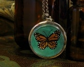 Custom Monarch Butterfly locket for Lexie Hoffar with a violet background.