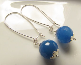 Blue Agate Sterling Silver Earrings, Gemstone Earrings, Drops