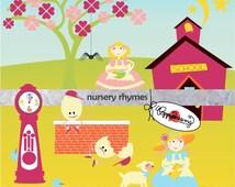Nursery Rhymes Clipart SET: Digital Scrapbook Pack (300 dpi) Mary Had a Little Lamb Hickory Dickory Dock Humpty Dumpty Little Miss Muffett