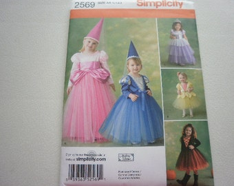 Pattern Costume Toddler Girls Princess Maiden Sz 1/2 to 3 Simplicity 2569 A