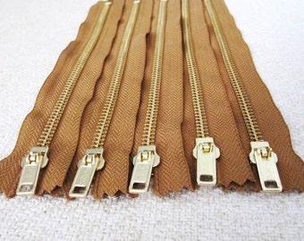 8inch - Chestnut Brown Metal Zipper - Gold Teeth - 5pcs