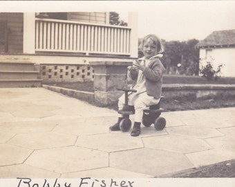 Vintage Photo - Child On Scooter - Vintage Photograph, Vernacular, Found Photo  (CC)