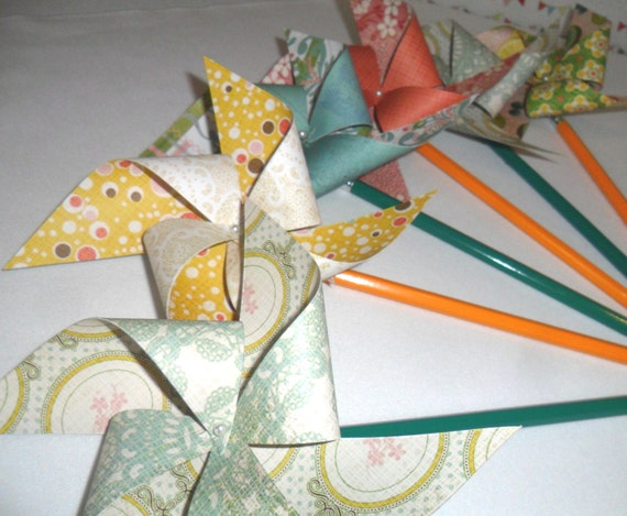 Pinwheels in Cheerful Vintage Designs Set of 8 Pinwheels Perfect for or a Birthday Party or a Baby Shower or a Bat Mitzvah or Wedding