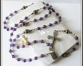 Catholic Rosary, Amethyst Gemstone in Bronze, Handcrafted Traditional 5 Decade Birthstone Rosary