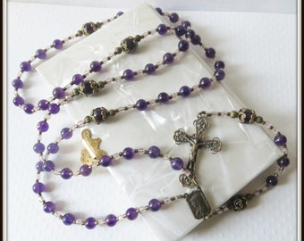 Handmade Catholic Rosary in Amethyst & Bronze,  LAST ONE AVAILABLE