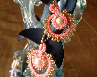 Tatting - Needle Tatted Earrings  - Coral Thread Tatted With Glass Pearls - Small Dangles