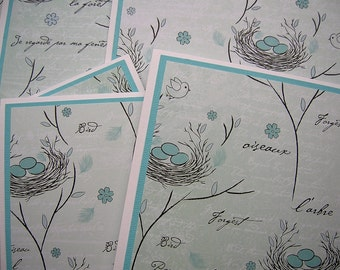 Pale Blue Bird Nest with Eggs - Blank Notecards - Set of 6 - Thank You, Springtime