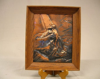 Small framed copper repousse Jesus praying at Gethsemane on the Mount of Olives