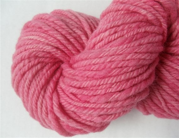 "Handspun Yarn Hand Dyed Pink Bulky Babydoll Wool and Alpaca 92 Yards "" Bubblegum "" Neon Pink Hot Pink Knitting Crochet"