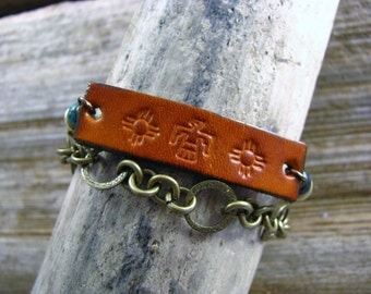 Leather Bracelet, Tribal Bracelet, Leather Tribal Wrap Cuff, Bullet Shell Bracelet, Hand Stamped
