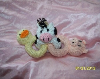 Crochet baby animal link rattle toy ANY animals you want ANY colors you want Farm animals duck, pig, and cow
