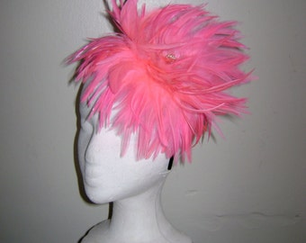 Bright Pink Feather Fascinator Headband Hat