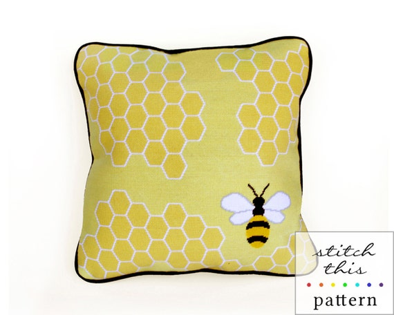 honey bee graphic modern needlepoint pattern - diy - contemporary- pdf - instant download