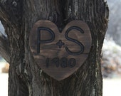 Valentine's Day Anniversary  Wedding  Heart Rustic Custom Carved wood sign from reclaimed wood - personalized with initials  - western cedar