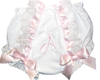 Pink Ruffles & Lace Personalized Baby Girl  Bloomers, Diaper Cover, Panties Free Shipping