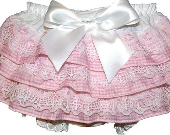 Light Pink Gingham & Lace Baby Bloomers, Diaper Cover, Panty