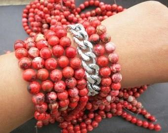 5 str- Rare Antique Bright Red Howlite 8mm Round Beads