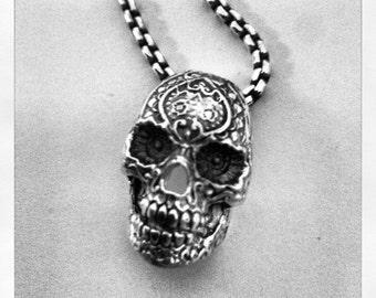 By Ezi Zino Jewelry Designer Pendant harley skull  pack FLOWER FINGER punk  sterling silver  biker OUTLAW