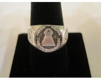 NEW Sterling Silver 925 Masonic Annuit Coeptis Freemasonry Organizations Ring
