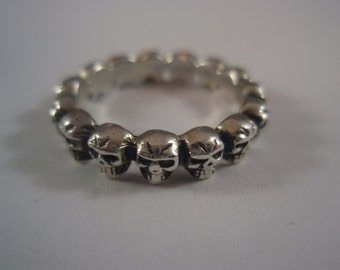 Sterling Silver 925 Multi Skull Band Ring