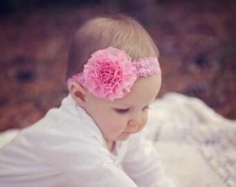 Baby headband, infant headband, newborn headband,  photo prop,  pink chiffon flower on matching pink lace headband