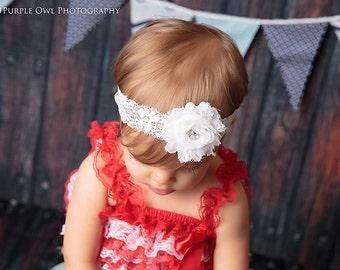 Baby headband, newborn headband, infant headband, photo prop, white shabby flower headband, white baby headband, white baby bow, baby bow