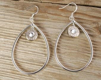 Bullet Earrings / 40 Caliber Solid Teardrop Nickel Bullet Earrings WIN-40-N-STE / Teardrop Earrings / Teardrop Bullet Earrings / Custom