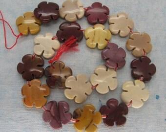 Genuine Australian Mookaite Flower Beads - 16 Inch Strand