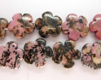 Genuine Black Line Rhodonite Flower Beads - 16 Inch Strand