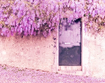 Flower Photography, Travel Photography, Wisteria Print, Door Photo, Lisbon Print, European Photos, Purple Flowers - Wisteria