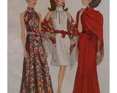 60s Christian Dior Evening Gown Pattern, High Collar, Bare Shoulders, Flared, Front Neck Slit, Vogue 2230 Size 14 Bust 36""