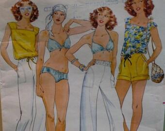 John Kloss Bikini Pattern, Short Shorts, Casual Pants, Blouson Top, Butterick No. 6100 Size 10 Bust 32.5