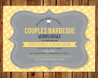 BBQ Couples Shower, Personalized BBQ Wedding Shower; Printable custom file