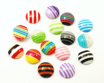 20 Piece 10mm Half Round Striped Cabochon Dome Cab Perfect for Earrings