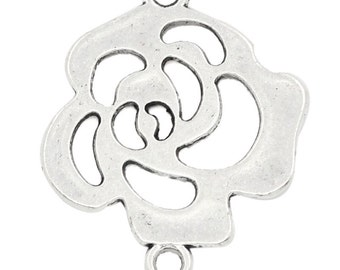 2 Antique Silver Open Rose Flower Connector Pendant Charm 28mm