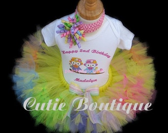 HOOTIN OWL Birthday Petti Tutu With Personalized Shirt Set---  Sizes 6 9 12 18 24 Months 2T 3T 4T---Birthday, Photo, Holidays