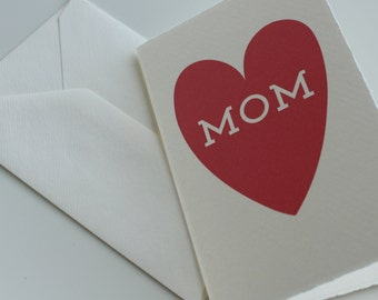 "Card for Mom for any occasion - ""MOM""  in a pink heart card"