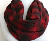 Infinity Scarf in Black and Red Plaid Flannel, Loop Scarf, Eternity Scarf, Circle Scarf