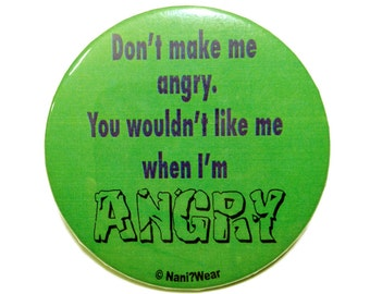 Avengers Hulk Button 2-Inch: Don't Make Me Angry