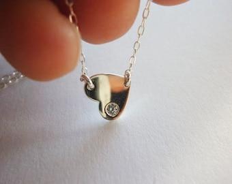 Sideways Heart Necklace-Heart Charm Necklace-Tiny Heart Necklace-Diamond Heart Necklace-Small Gold Heart Necklcae-Heart Necklace-MomentusNY
