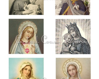 Vintage Religious Images Altered Art Ephemera Collage Sheet 3 inch squares Soldered Pendants Digital Download - Central Coast Charms