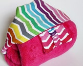 Hooded Bath Towel and Washcloth Set in Rainbow Bright Pink: for Babies, Toddlers and Preschoolers - Deluxe and ECO-FRIENDLY
