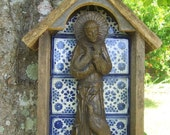 Handmade Cedar and Tile Niche with Statue of Saint