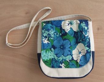 MOVING SALE!  Bluff Messenger- Vintage Blue Floral with Repurposed Denim // back to school, off white, shoulder bag, satchel