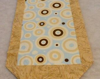 Geometric Cotton Table Runner Blue Tan Brown Circles